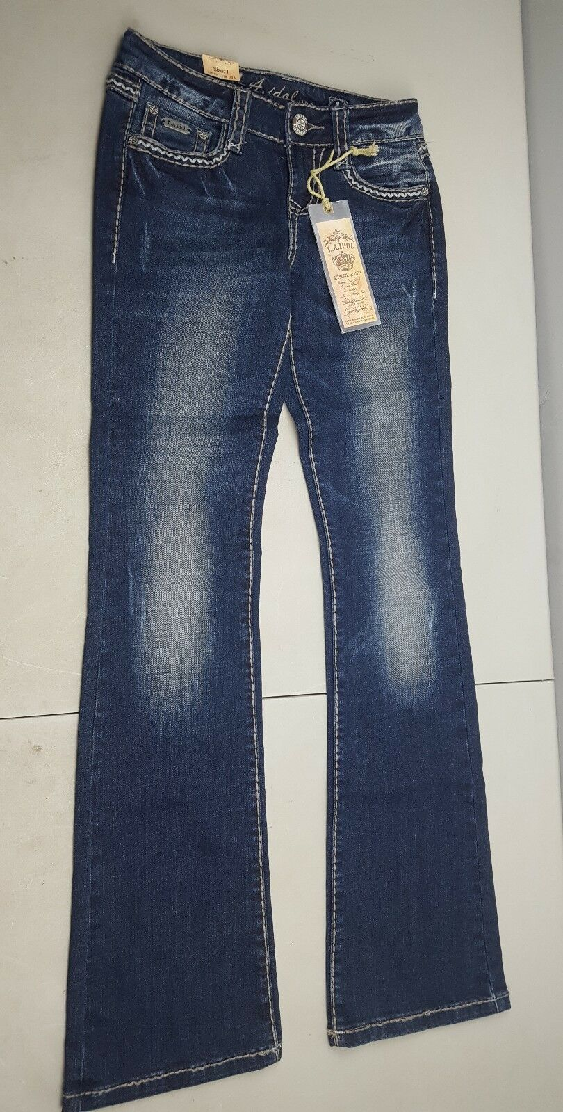 New with tag La Idol USA Factory faded Fashion bluee Jeans juniors Size 1 27w 33l