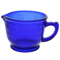 Measuring Cup 2 Cups Depression Style Glass Blue Reproduction Kitchen Decor