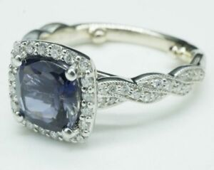Gorgeous-Cushion-Cut-Tanzanite-amp-Diamond-Set-In-14K-White-Gold-Ring-SZ-5-4-1g