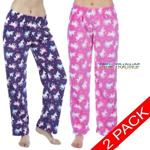 2-Pairs-Ladies-Womens-Fleece-Pyjamas-Lounge-Pants-Bottoms