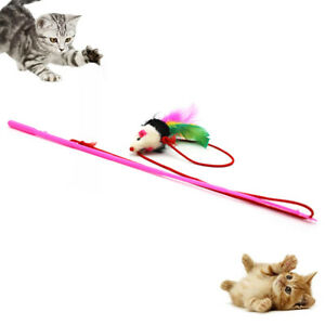 Funny-Pet-Cat-Teaser-Mouse-Shape-Feather-Fishing-Rod-Stick-Interactive-Play-Toy