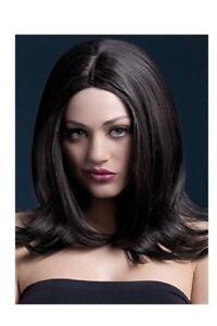 Parrucca-per-donna-corte-come-capelli-veri-vera-lunga-nera-sexy-capelli-finti