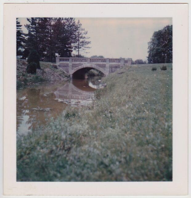 Square Vintage 70s Polaroid PHOTO Riverside Cemetery Bridge Lindsay Canada
