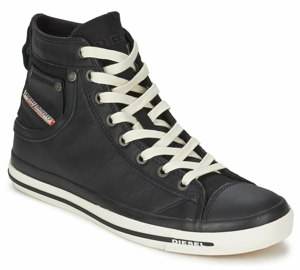 Diesel Exposure iv Black White New Womens Leather Hi Top Trainers Shoes Boots