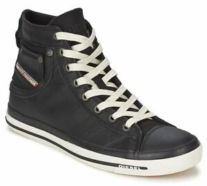 Diesel Exposure iv Black White New Womens Leather Hi Top Trainers ... 7ac1465772