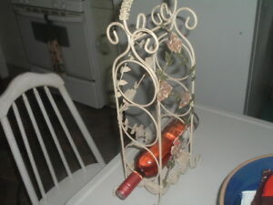 Vintage Creme Wrought Iron Wine Rack Bottle Holder Counter Top For 3