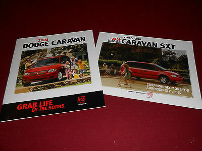2003 DODGE CARAVAN 24-Page PRESTIGE BROCHURE /& 03 SXT PACKAGE SALES SHEET; 2-4-1