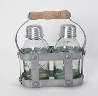 Vintage Style Mason Jar Salt And Pepper Shaker Set In Milk Crate Caddy