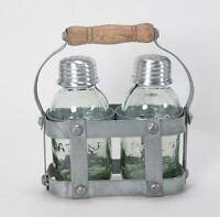 Vintage Style Mason Jar Salt And Pepper Shaker Set In Milk Crate Caddy