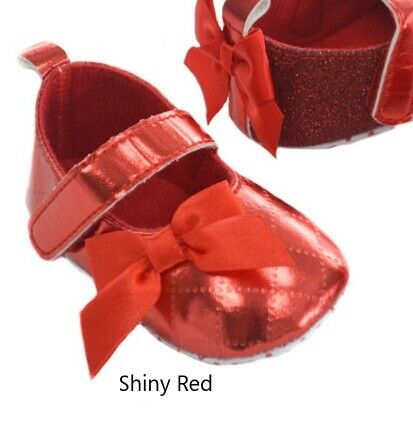 Baby Girl red pram shoes Bow Sparkle Shiny Gift Occasion Party Christmas