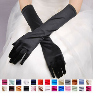 Ladies-Mittens-Evening-Party-Opera-Long-Gloves-Satin-Costume-Wedding-Prom-Bridal