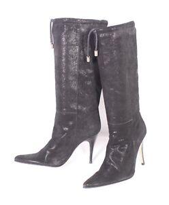 36S Patrizia Pepe Damen Stiefel Boots Gr. 36 Leder schwarz Glitzer ... 4cf75868cb