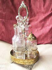 ANTIQUE ART NOUVEAU BRASS & SILVER PLATED CARRIER CRUET SET CRYSTAL GLASS JARS
