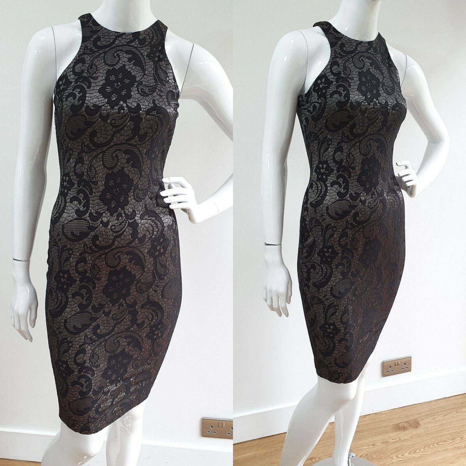 New AX PARIS Size 10 Black Silver Floral Lace Print Bodycon Stretch Dress Midi