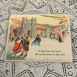 Vintage-Greeting-Card-Art-Deco-Christmas-Church-Town-People