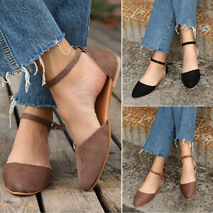 Women-Ladies-Ankle-Strap-Ballerina-Ballet-Dolly-Pumps-Slip-On-Flats-Casual-Shoes