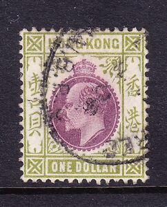 HONG KONG Edward VII 1904 $1 purple & sage green - wmk MCA - fine used. Cat £48