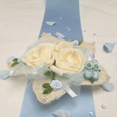 Tischdeko Tischdekoration Taufe Geburt Lotusblüte mit Babyschuhen hellblau -EDEL