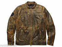 Harley Davidson Men Miramar Distressed Brown Leather Jacket Lt L Tall 97128-16vm