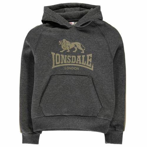 Lonsdale Kids Boys 2 Stripe Zip Hoody Junior Hoodie Hooded Top Long Sleeve