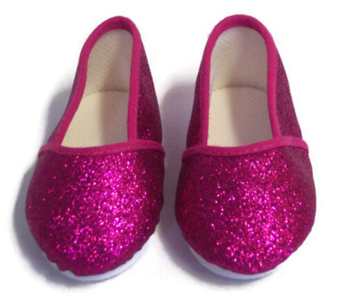"""Fuchsia Glitter Pink Slip On Shoes made for 18/"""" American Girl Doll Clothes"""