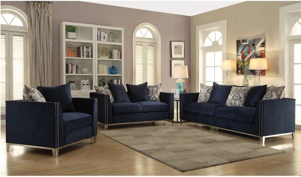 Living Room Furniture Sofa Contemporary Nail Head Trim Navy Blue Color 2pc Set For Sale Online