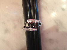 Silver Tone Costume Jewelry Ring Marked 10 Kt w/ Black Glass or Crystal Stones