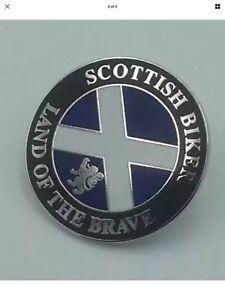 """Scottish biker """"Land Of The Brave """" Enamel Pin Badge Motorcycle Scotland"""