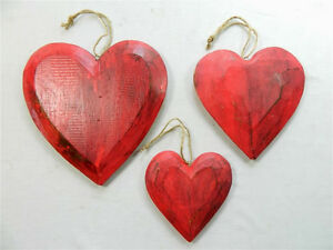 Phenomenal Details About Wooden Hanging Heart Wall Art Set Of 3 Shabby Chic Hearts Vintage Red Home Interior And Landscaping Ponolsignezvosmurscom