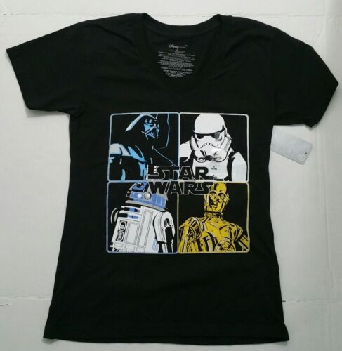 Women/'s Star Wars Disney Store T-shirt Black Comic Print Tee R2-D2 Vader C3PO