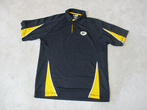 NFL Green Bay Packers Polo Shirt Adult Large Black Yellow Dri Fit ... e1ffb8e94