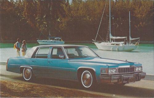 1977 Cadillac 4-Dr SEDAN Blue//White Original Dealer NOS Promo Postcard UNUSED ^