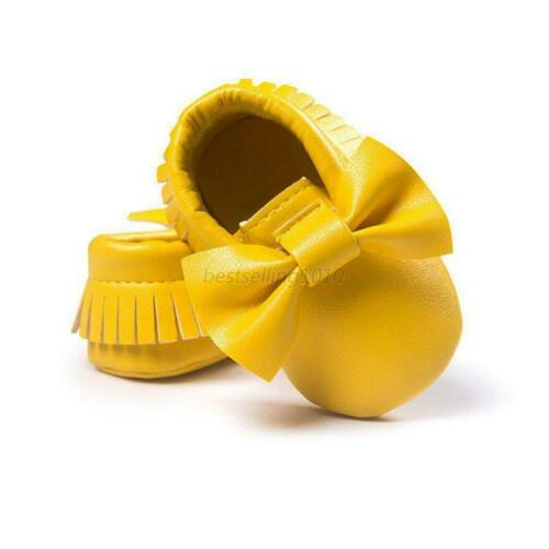 Baby Kid Tassel Soft Sole Leather Shoes Infant Boy Girl Toddler Crib Moccasin US