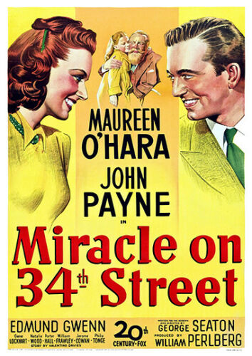 Vintage Movie Advertising  Poster reproduction Miracle on 34th Street