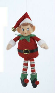 f35f407df3694 KURT S. ADLER GREEN   RED RETRO FABRIC ELF w PLASTIC FACE CHRISTMAS ...