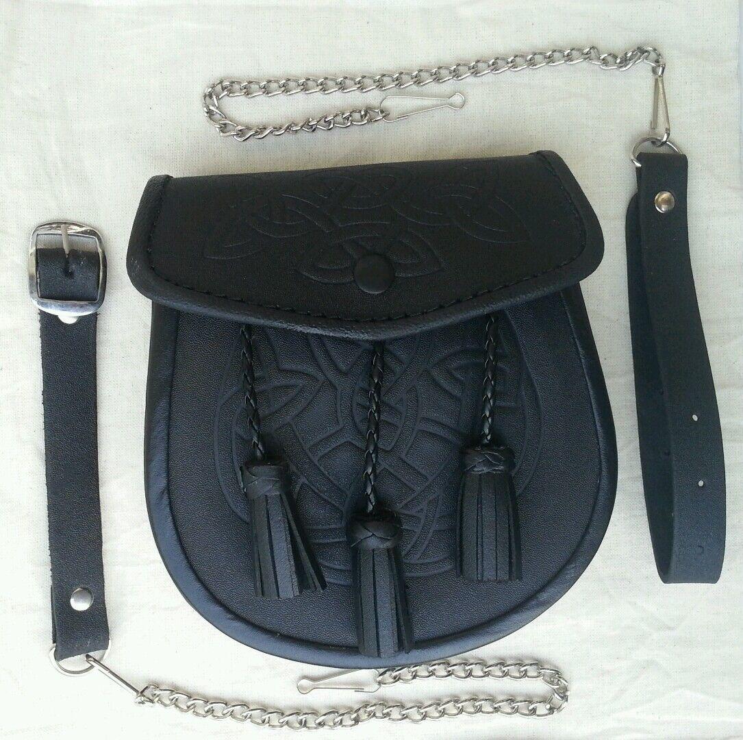 3 Tassels Scottish Celtic Embossed Kilt Sporran with Leather & Metal Chain set