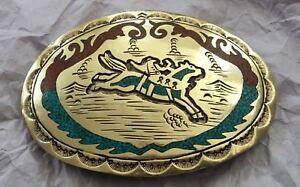 VTG-Huge-4-5-034-Custom-RODEO-SADDLE-BRONCO-Turquoise-Western-Cowboy-BELT-BUCKLE