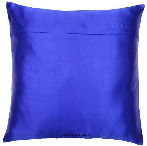 "16/"" Royal Blue Mandala Silk Brocade Throw Cushion Pillow Cover Sofa Couch Decor"