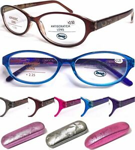 L374H-Graceful-Womens-Butterfly-Pattern-Reading-Glasses-Spring-Hinges-Hard-Case