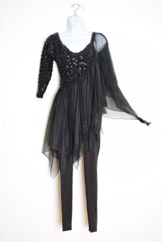Vintage Black Cutout Sequin Dance Costume Tutu Bike Short Leotard Turquoise Satin Bow and Cuffs M
