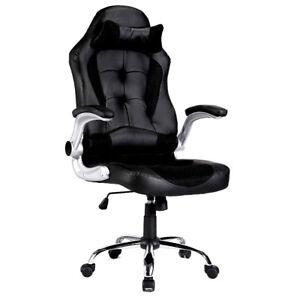 Black Sports Racing Gaming Chair Rocking Office Computer Swivel High Back PU