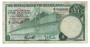 Royal-Bank-of-SCOTLAND-1-Pound-VF-Banknote-1969-P-329-Prefix-A-7