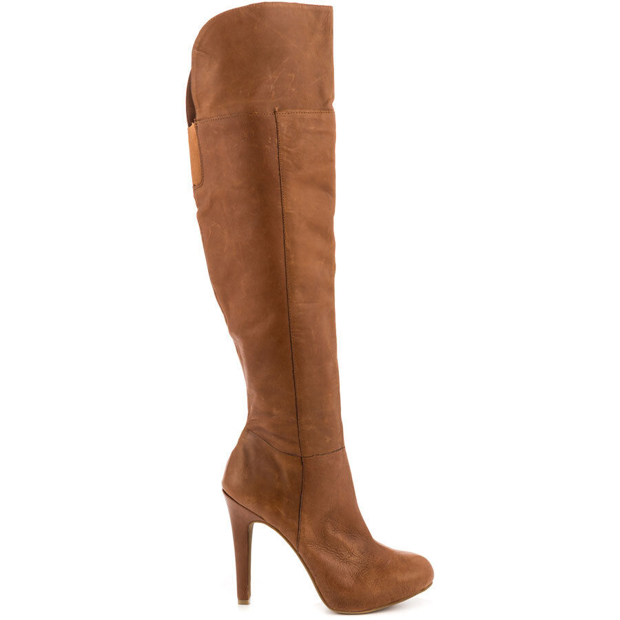 New Jessica Simpson Audrey Burnt Umber Juba Calf Leather Tall Boots sz 10 $210