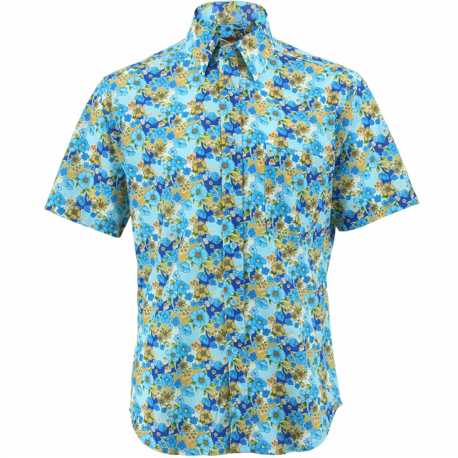 Camicia da uomo forte ORIGINALI REGULAR FIT Margherite Blu Retro Psichedelico Costume