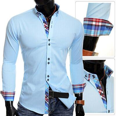 Men/'s Check Shirt by D/&R Lumberjack Casual Denim Collar Cuffs Cyan Blue Slim Fit
