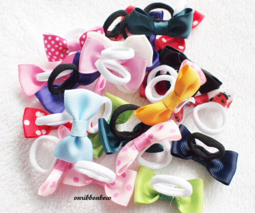PAIR of Girls Baby Kids Children Hair Accessories Bows Bobbles Hairbands Ponios