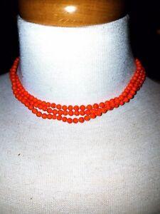Orange Triple Strand Choker Glass Bead Vintage Necklace