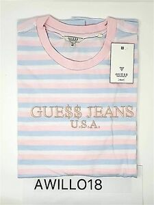 c5a052c5c733 Guess x ASAP Rocky Pink Blue Candy Striped Logo T-Shirt XXL GUE$$ A ...