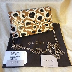 8e977316ba79ee Image is loading NWT-GUCCI-Leather-LEOPARD-Betty-Shanghai-Chain-Wallet-
