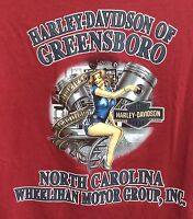 Harley Davidson Motorcycles Size XL T Shirt Red Cotton Greensboro